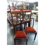 EDWARDIAN OAK SET OF SIX DINING CHAIRS WITH SOLID BACK SPLAT OVER PAD SEAT (INCLUDING TWO CARVERS)