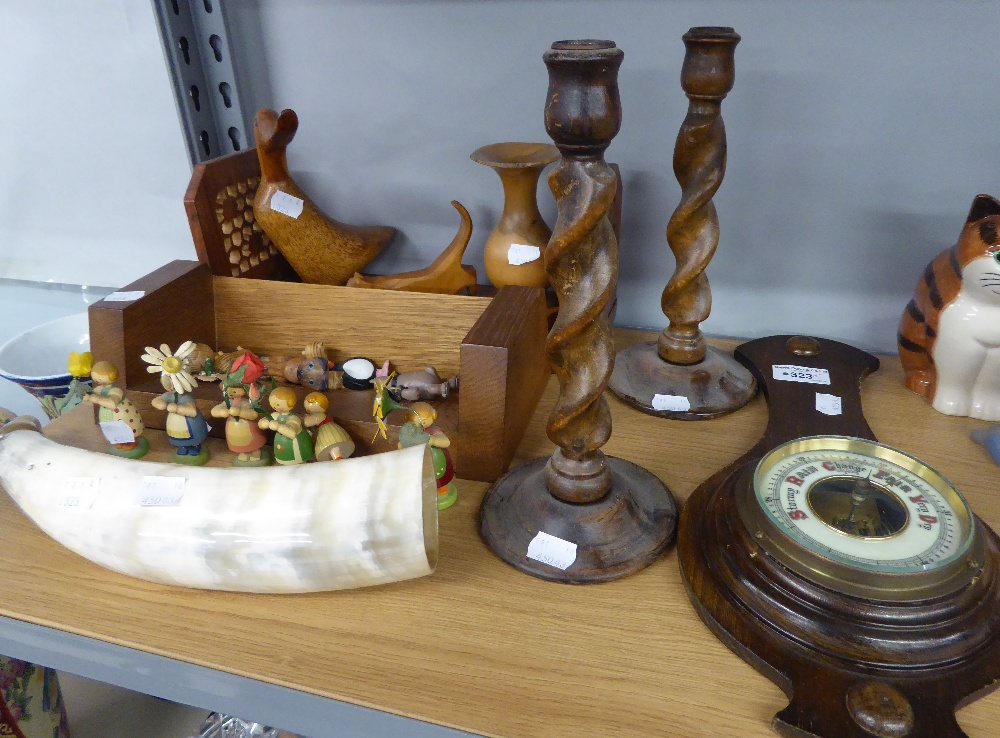 Lot 323 - A SET OF SIX AUSTRIAN SMALL PAINTED WOODEN 'FLOWER' FIGURES, A PAIR OF SPIRAL CANDLESTICKS AND A