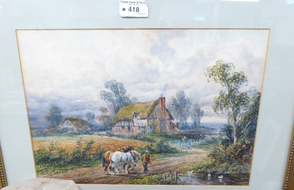 Lot 418 - EDITH LORD BARCLAY (NINETEENTH/ TWENTIETH CENTURY) WATERCOLOUR DRAWING Figure with two work horses