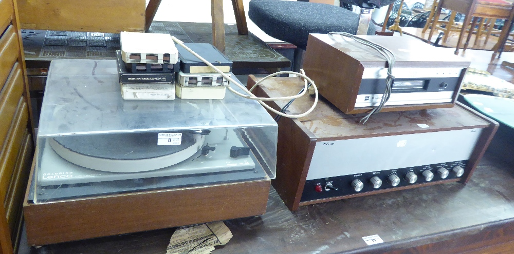 Lot 8 - GOLDRING LENCO SWISS RECORD PLAYER, 8 TRACK STEREO, WELBROOK STEREO AMPLIFIER (3)