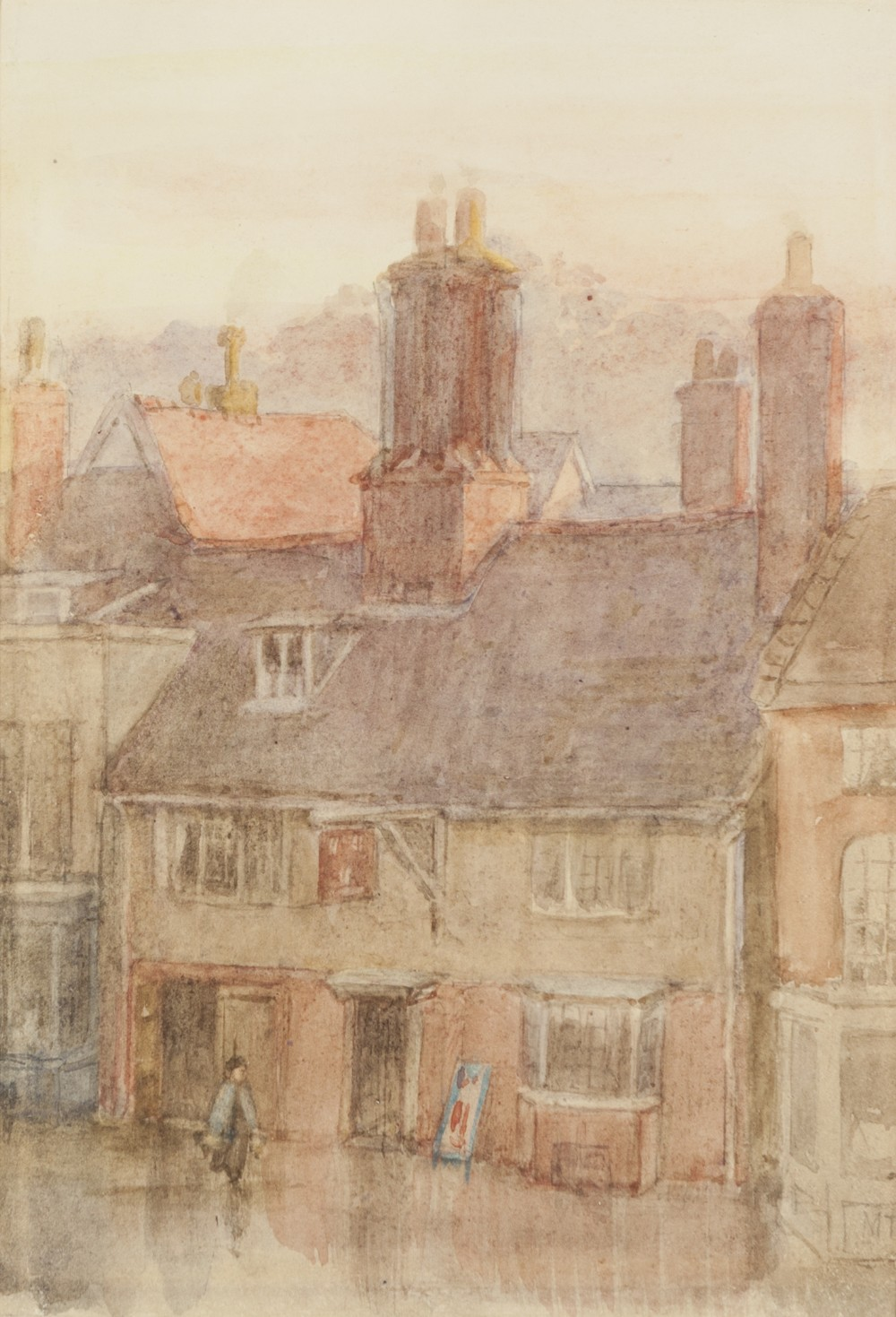 Lot 401 - MARGARET THOMPSON (Twentieth Century) WATERCOLOUR A townscape with an Inn Signed with initials lower