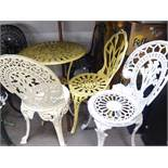 METAL PAINTED GARDEN TABLE, WITH FIVE SINGLE GARDEN CHAIRS (6)