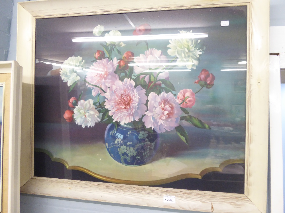 Lot 258 - A LARGE COLOUR PRINT, STILL LIFE, 'FLOWERS'