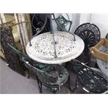 METAL PAINTED GARDEN TABLE, AND 3 MATCHING SINGLE GARDEN CHAIRS AND ANOTHER SIMILAR (5)