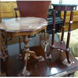 REPRODUCTION MARBLE TOP JARDINIERE STAND, AND A SHAPED TOP PEDESTAL TABLE