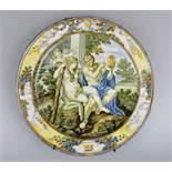 Majolika-Teller, Italien, 18. Jh., Carlo Antonio Grue (1655 - 1723) oder Werkstatt. Duftiger,