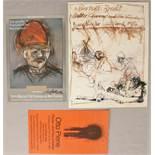 Drei Plakate: Zwei Plakate Alfred Hrdlicka: Bertolt Brecht. Mutter Courage und ihre Kinder. Plakat
