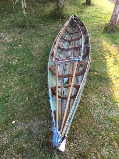 vintage timber frame kayak with canvas cover c 4 2m long as