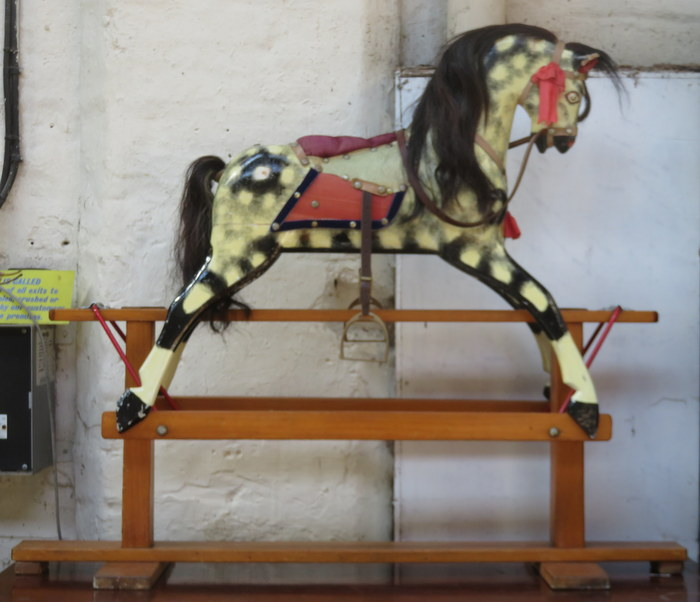 Lot 95 - VINTAGE HANDPAINTED CHILD'S ROCKING HORSE ON STAND,