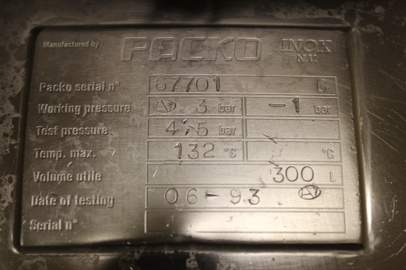 Lot 52 - 1993 Packo Mobile Vessel, s/n 67701G, Stainless Steel Construction, 300 Liter Capacity, 132 Degree