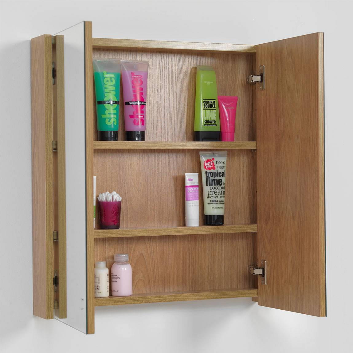 1 x victoria plumb teak mirrored bathroom wall cabinet for Bathroom cabinets victoria plumb