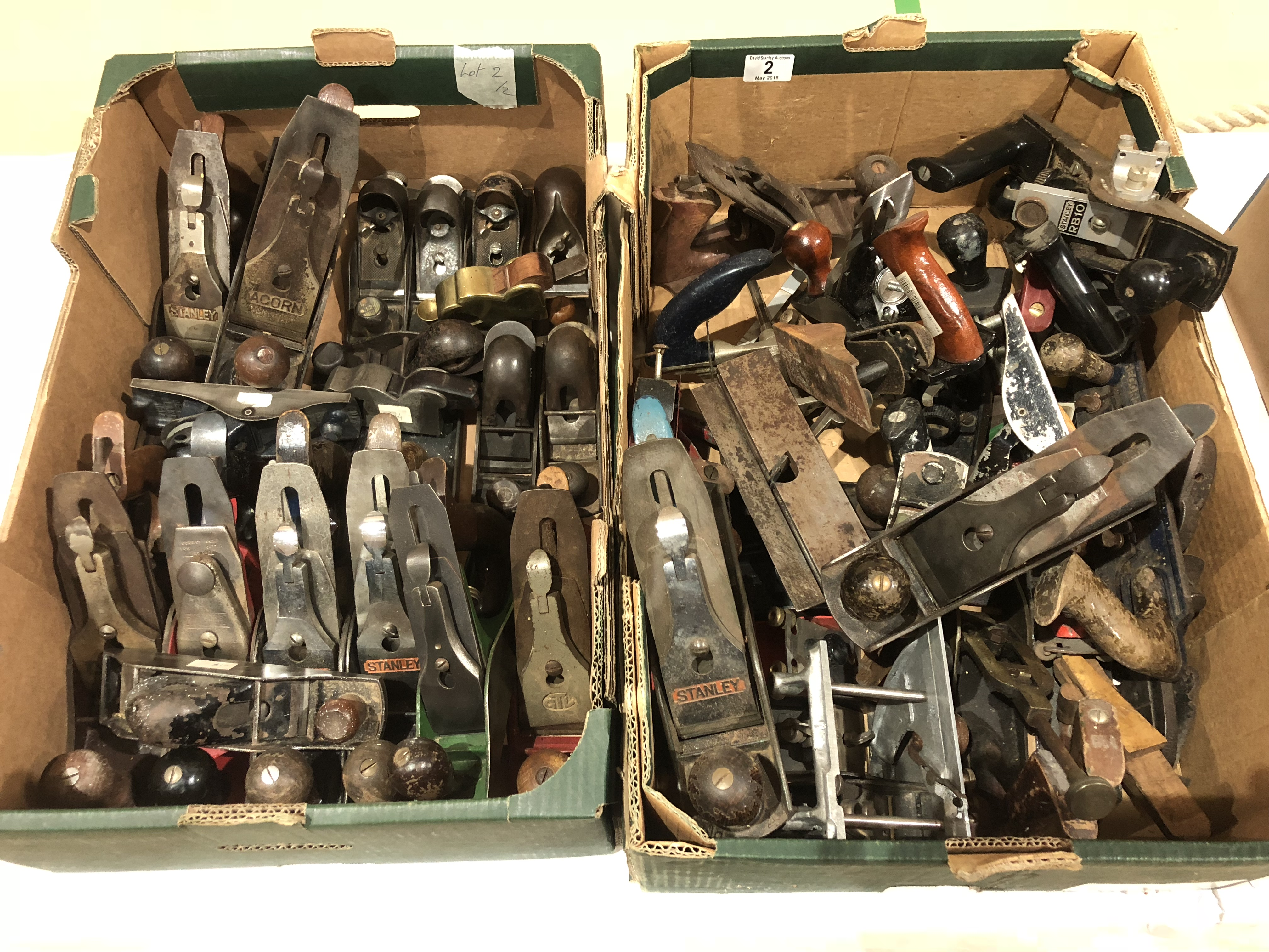Lot 2 - Two boxes of metal planes