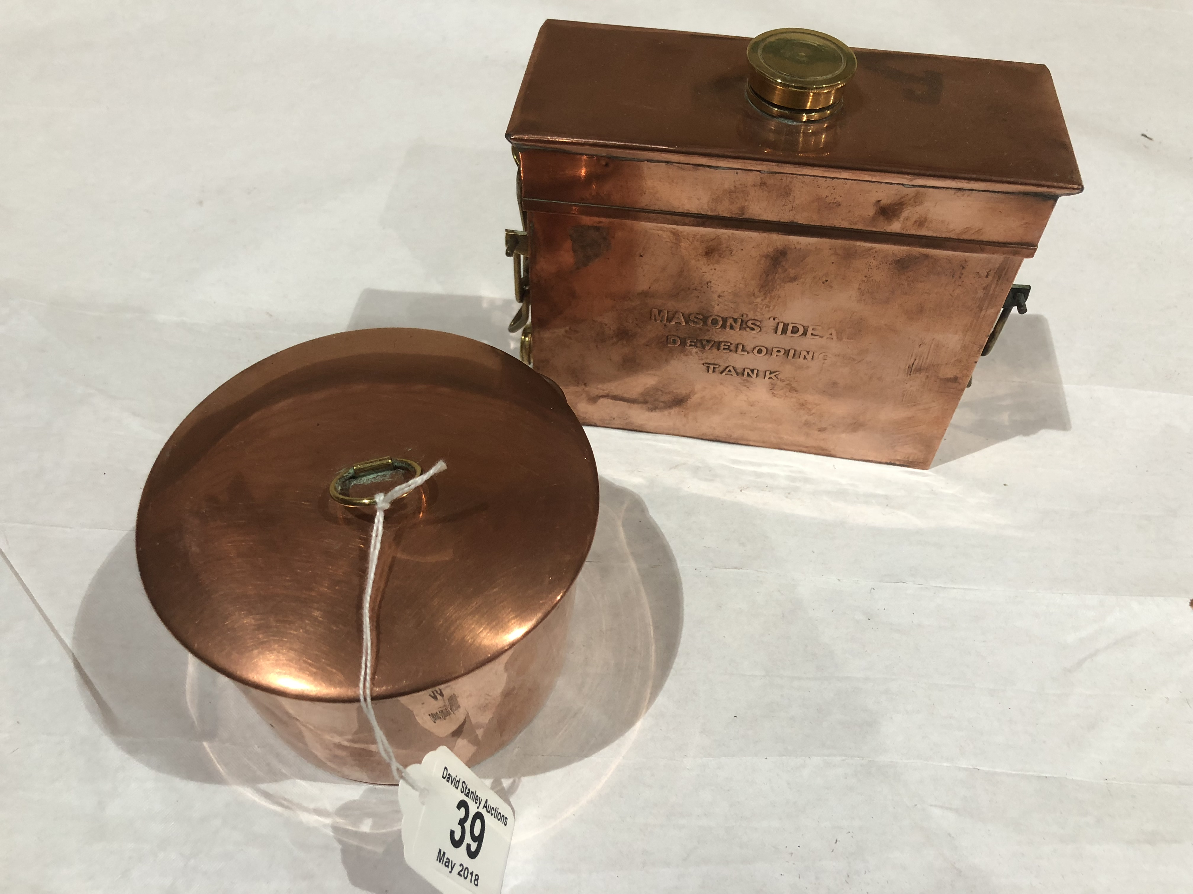 Lot 39 - A copper developing tank and another G++