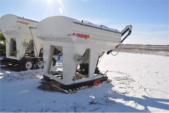 Friesen 240 RT seed tender, Weightronix scales, belt conveyor, skid