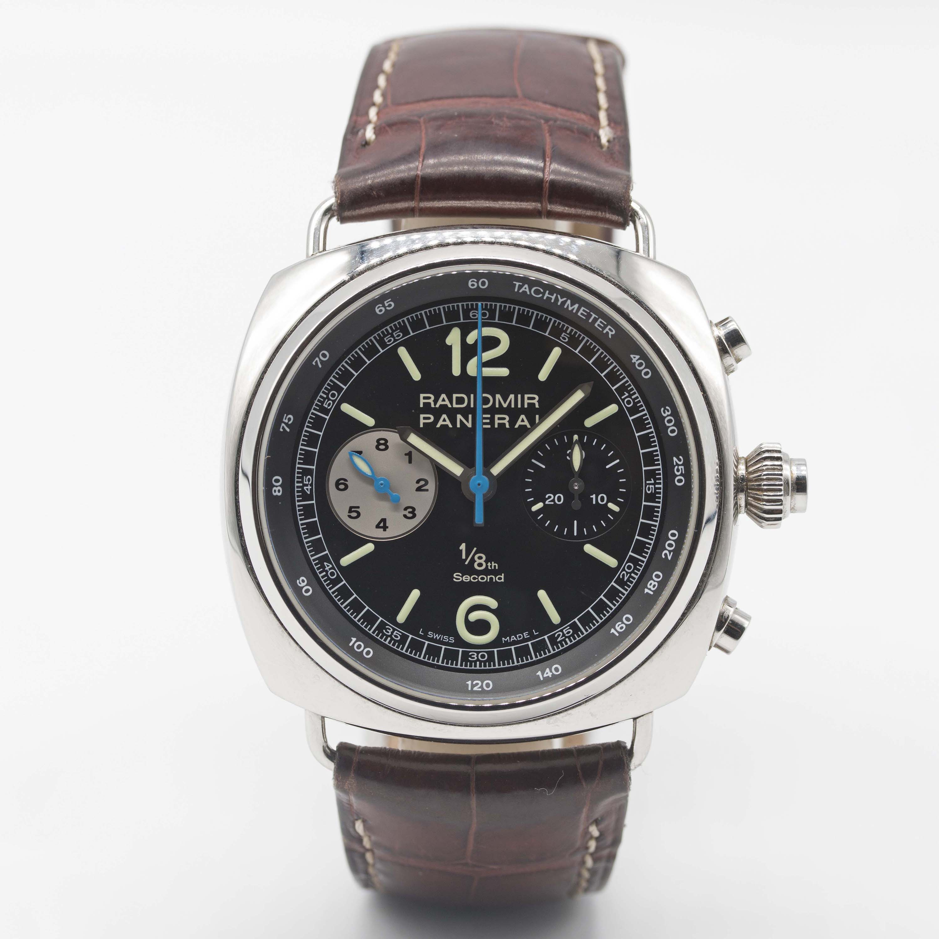 Lot 233 - A GENTLEMAN'S STAINLESS STEEL PANERAI RADIOMIR 1/8TH SECOND RATTRAPANTE CHRONOGRAPH WRIST WATCH