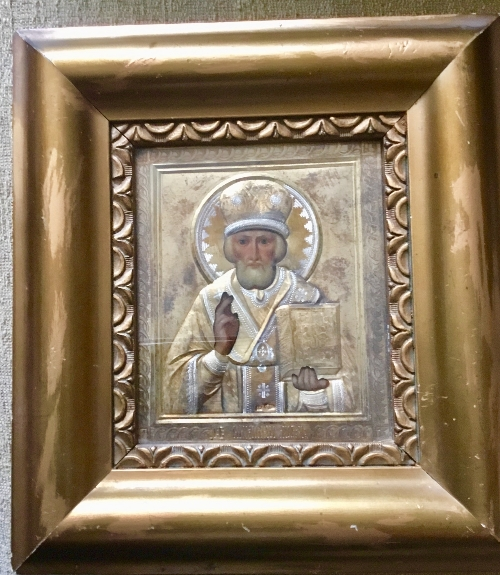 Lot 309 - Russian orthodox hand painted Oklad icon of St. Nicholas The Miracle Worker of Myra with the Mark of
