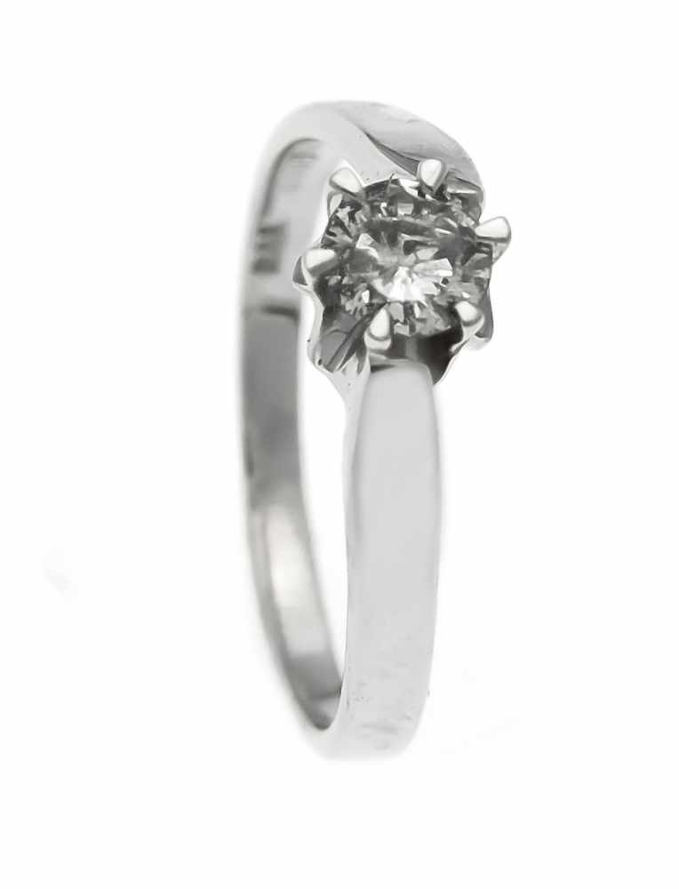 Lot 56 - Brillant-Ring WG 585/000 mit einem Brillanten 0,45 ct W/PI, RG 56, 2,5 gBrilliant ring WG 585/000