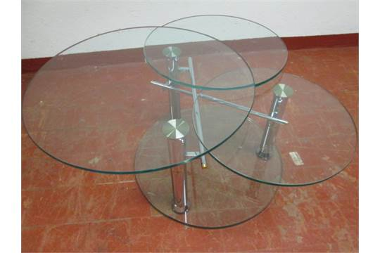 Modern Swivel Coffee Table.Flavie Modern Swivel Glass Coffee Table Size H 42cm X Dia 70cm