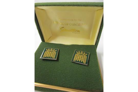 Pair of Metal Cufflinks Specially Made for the HOUSE OF