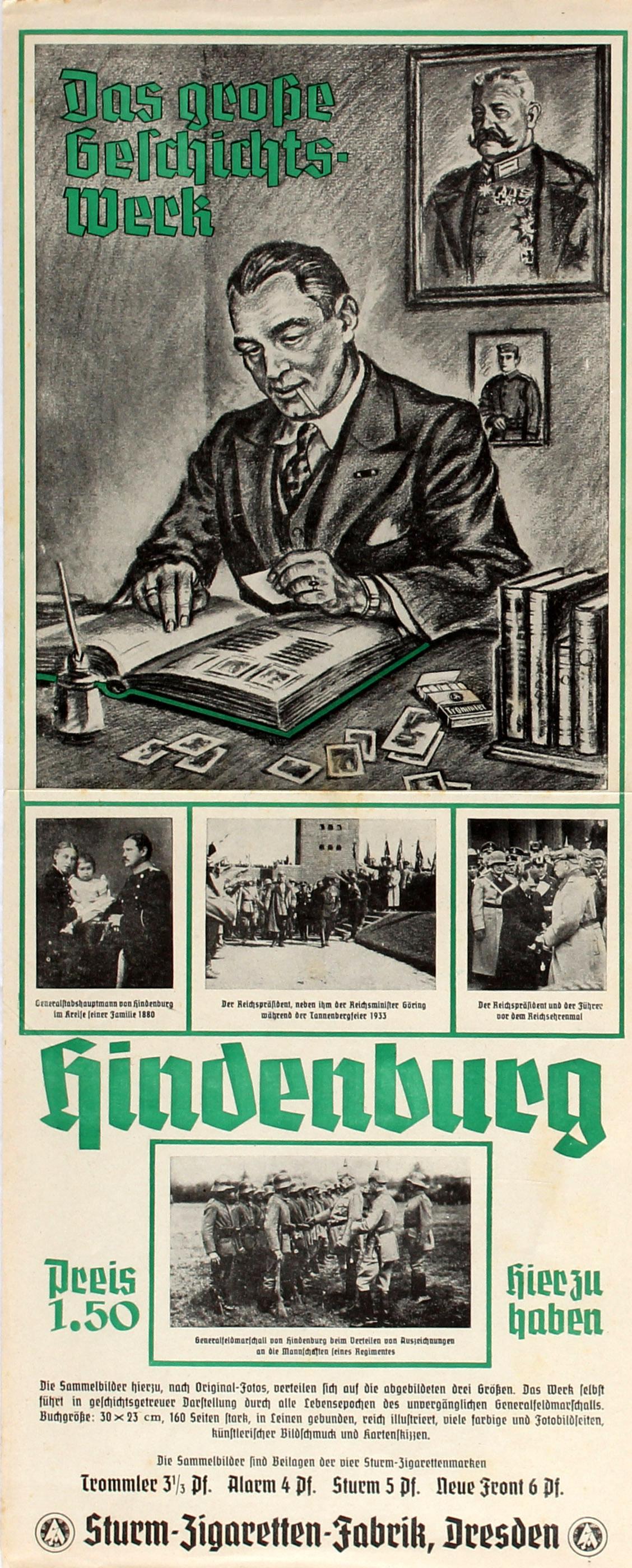 Advertising Poster Hindenburg Cigarette Cards