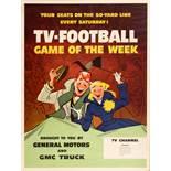 Advertising Poster TV American Football USA Midcentury