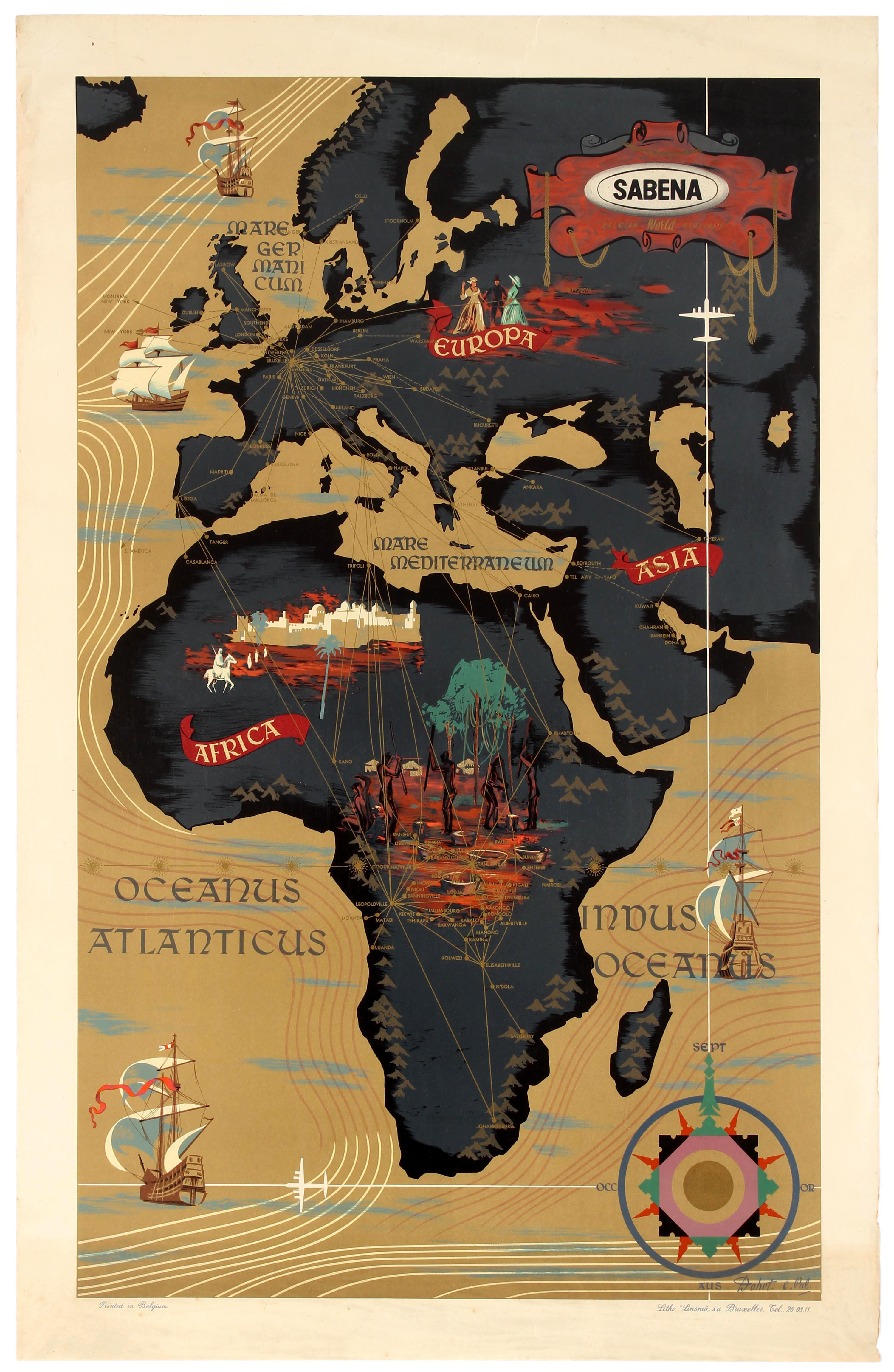 Lot 2507 - Travel Poster Sabena Airline Route Map Africa
