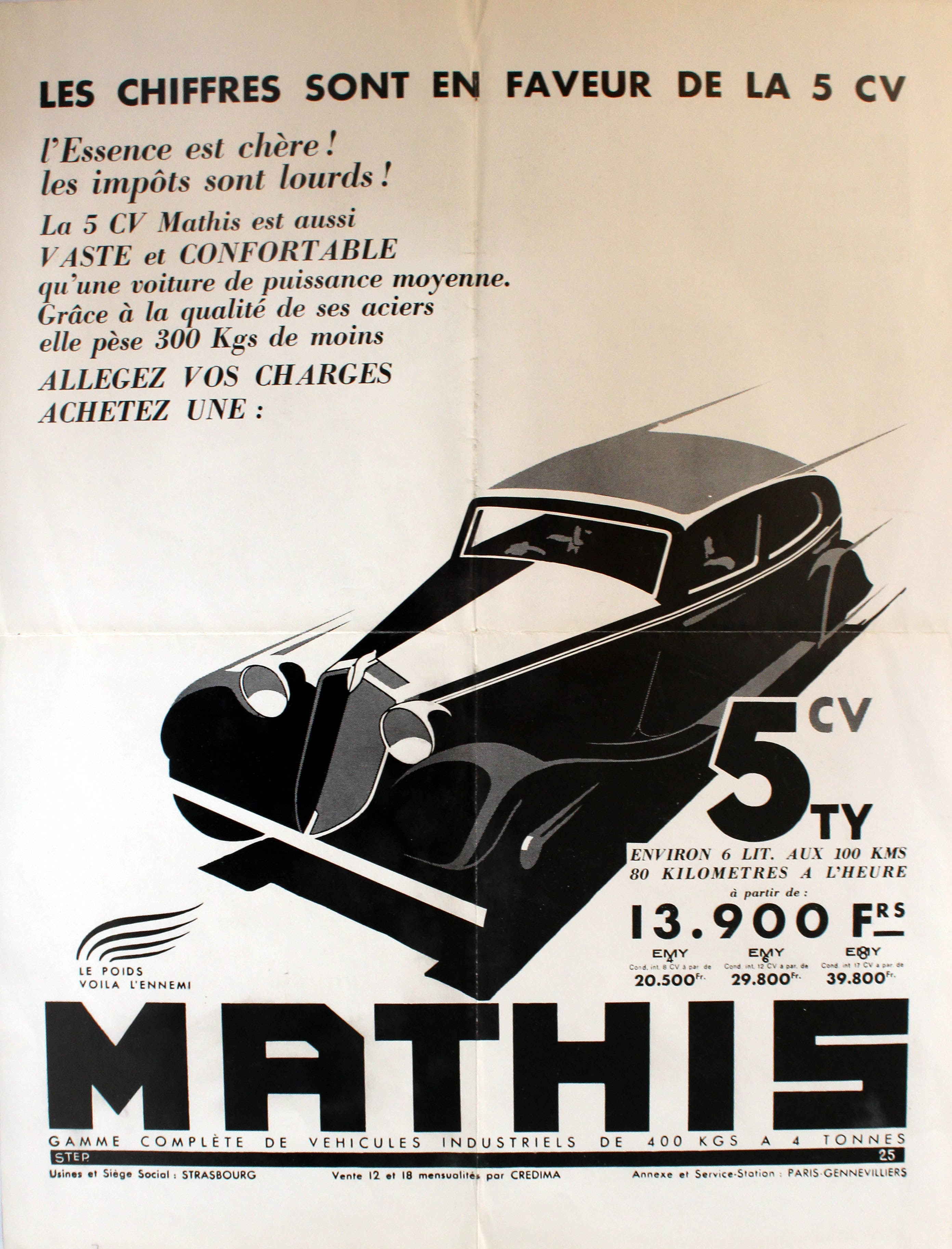 Advertising Poster Art Deco Car Mathis 5CV