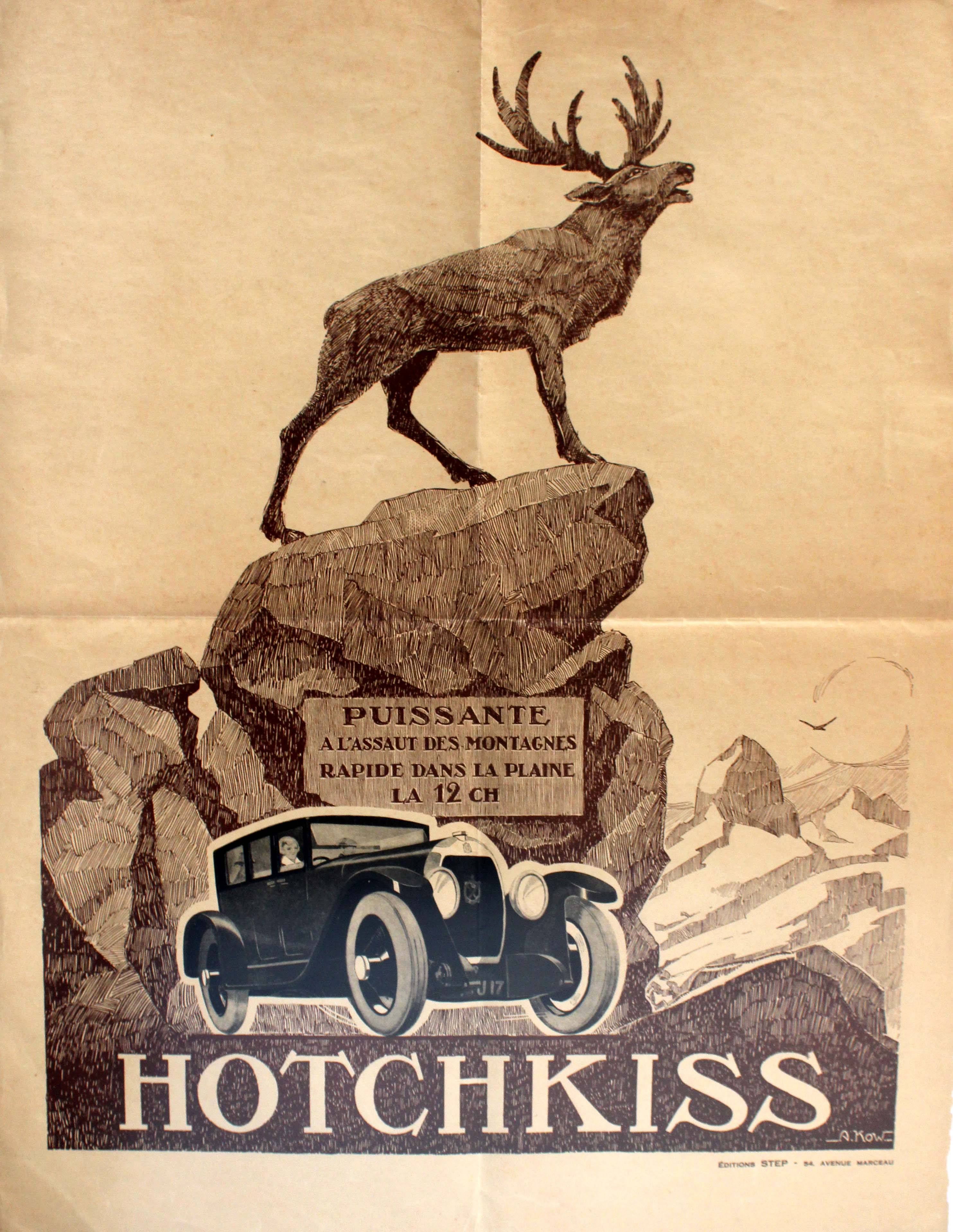 Advertising Poster Art Deco Hotchkiss Car France