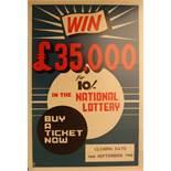 Advertising Poster Malta National Lottery 1968