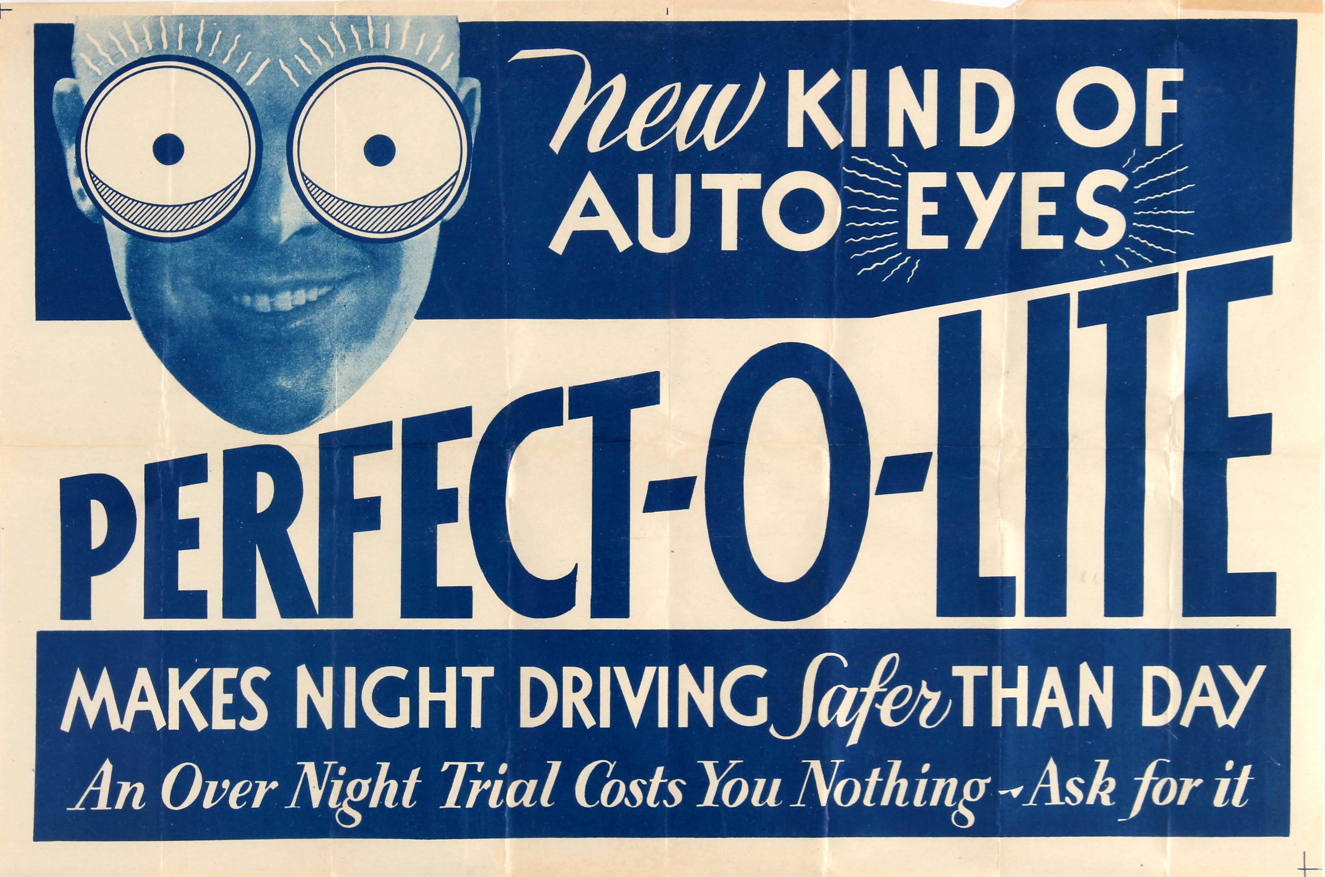 Advertising Poster PerfectOLite Crazy Eyes Car Headlights