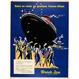 Advertising Poster French Line Cruise Shipping USA France Villemot