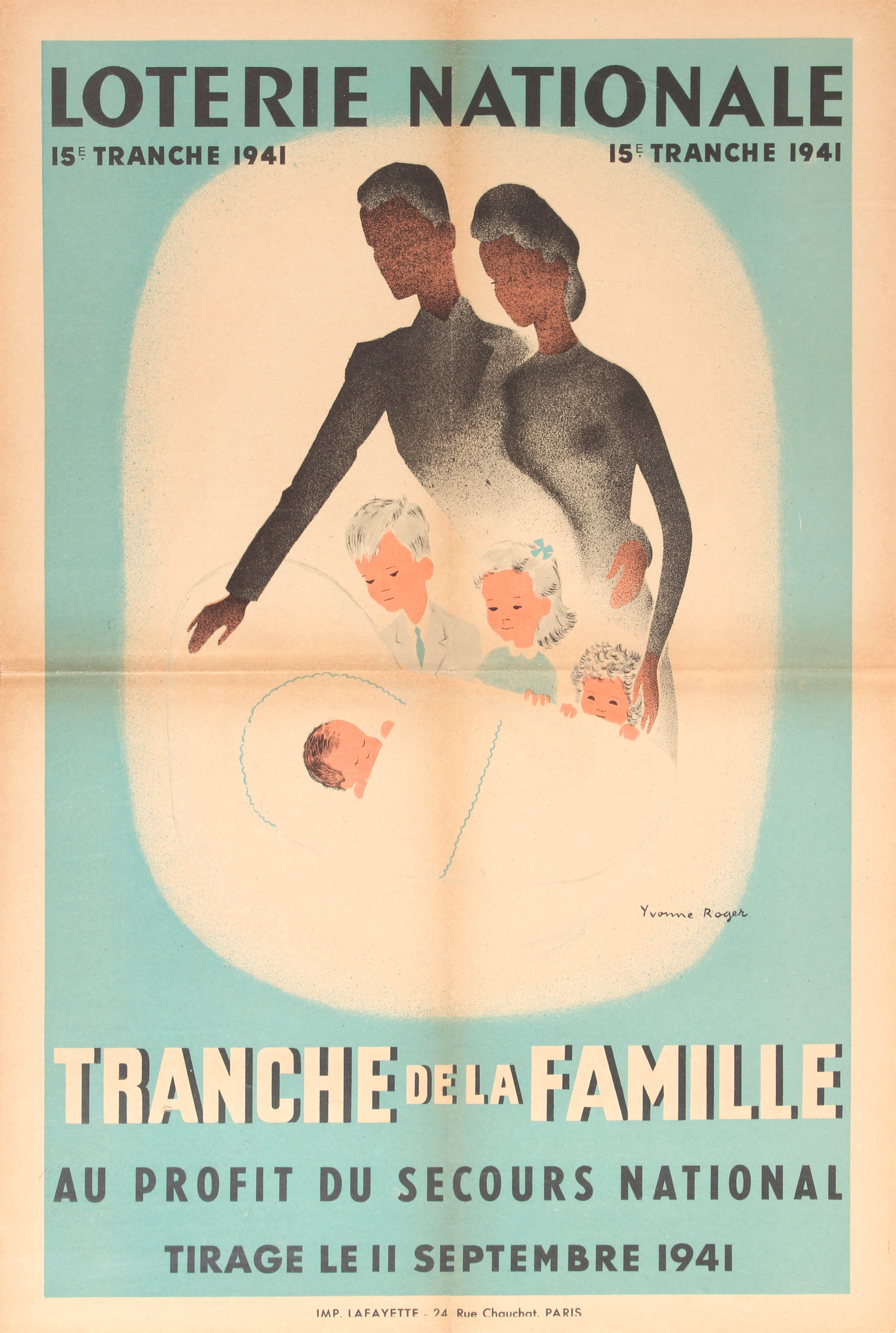 Advertising Poster Art Deco Loterie Nationale Family Lottery