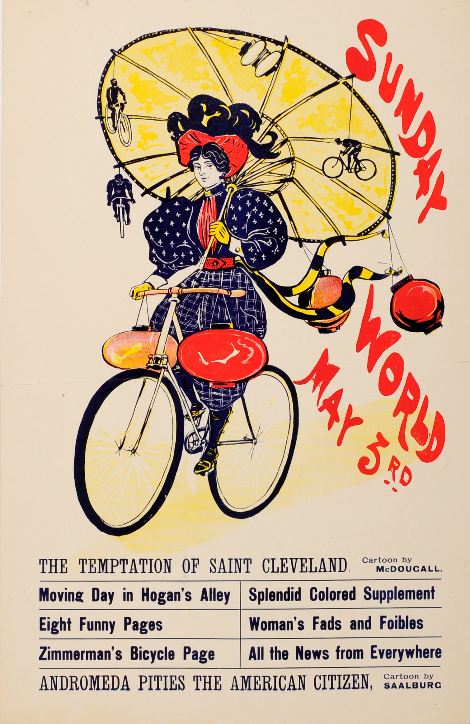 Advertising Poster The Sunday World Magazine Cycling Belle Epoque