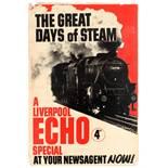 Steam Railway Liverpool Echo Newspaper Advertising Poster