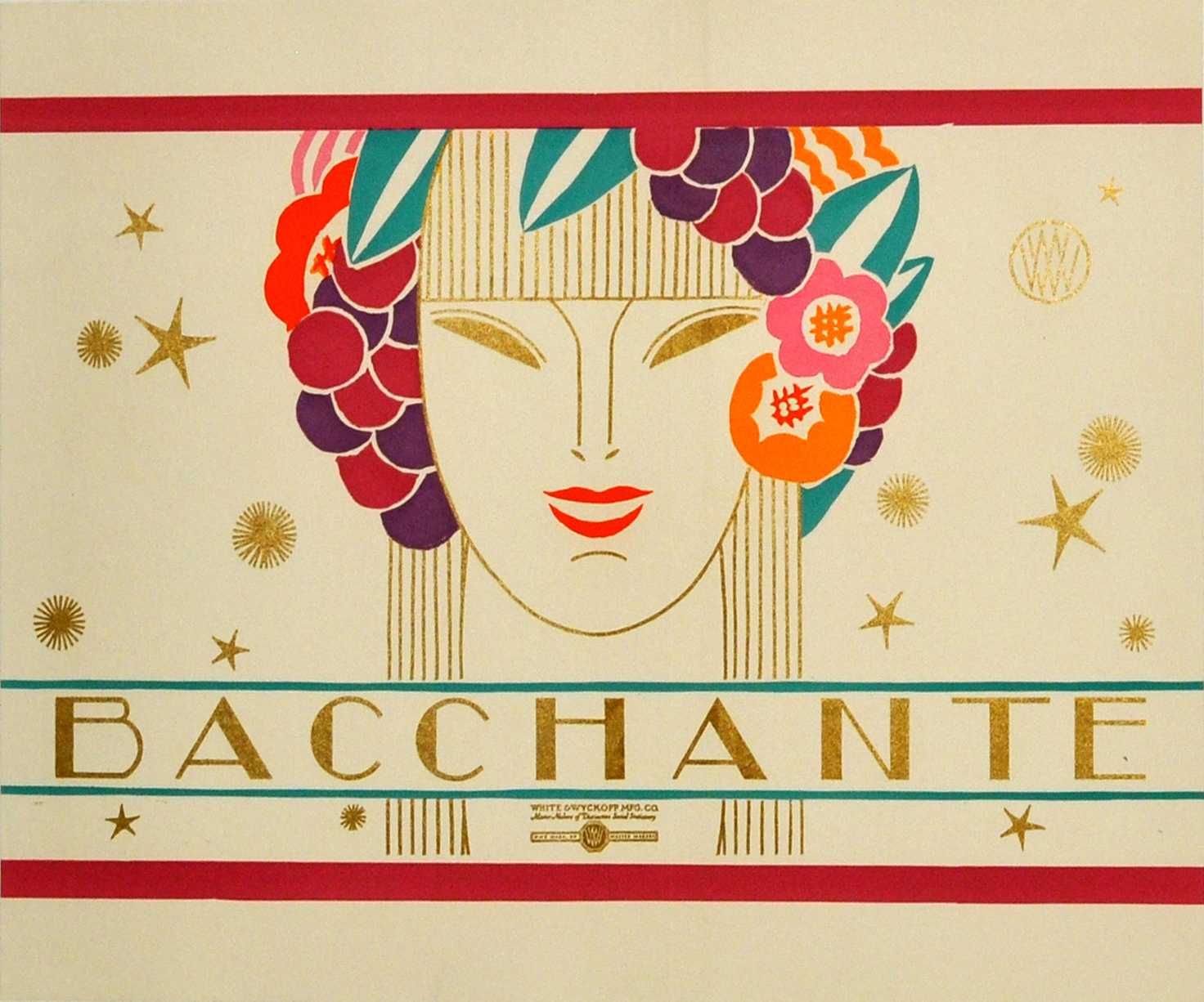 Advertising Poster Label Bacchante Art Deco