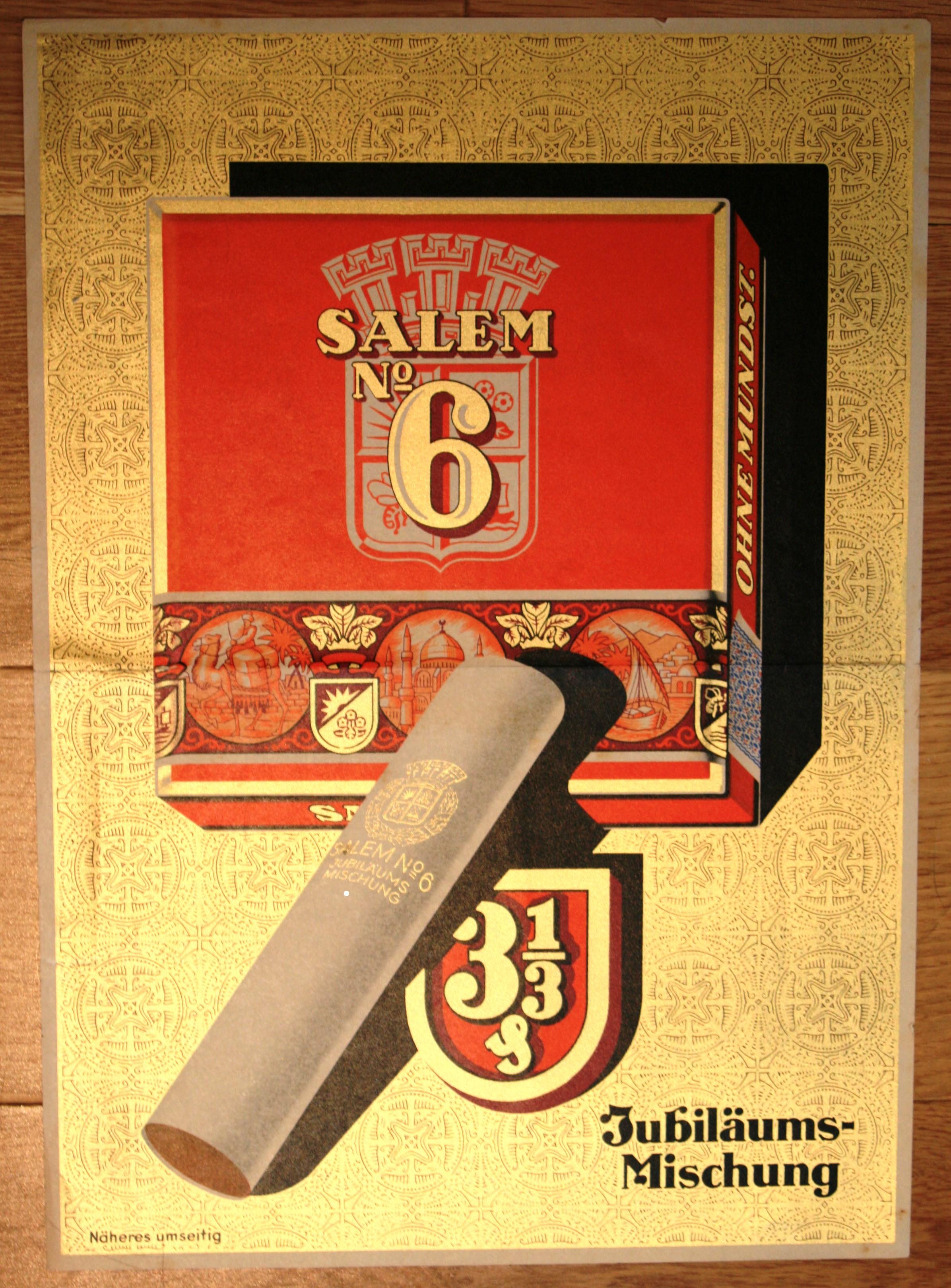 Advertising Poster Salem N6 Cigarettes Tobacco