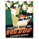 Advertising Poster Het Volk Newspaper Midcentury