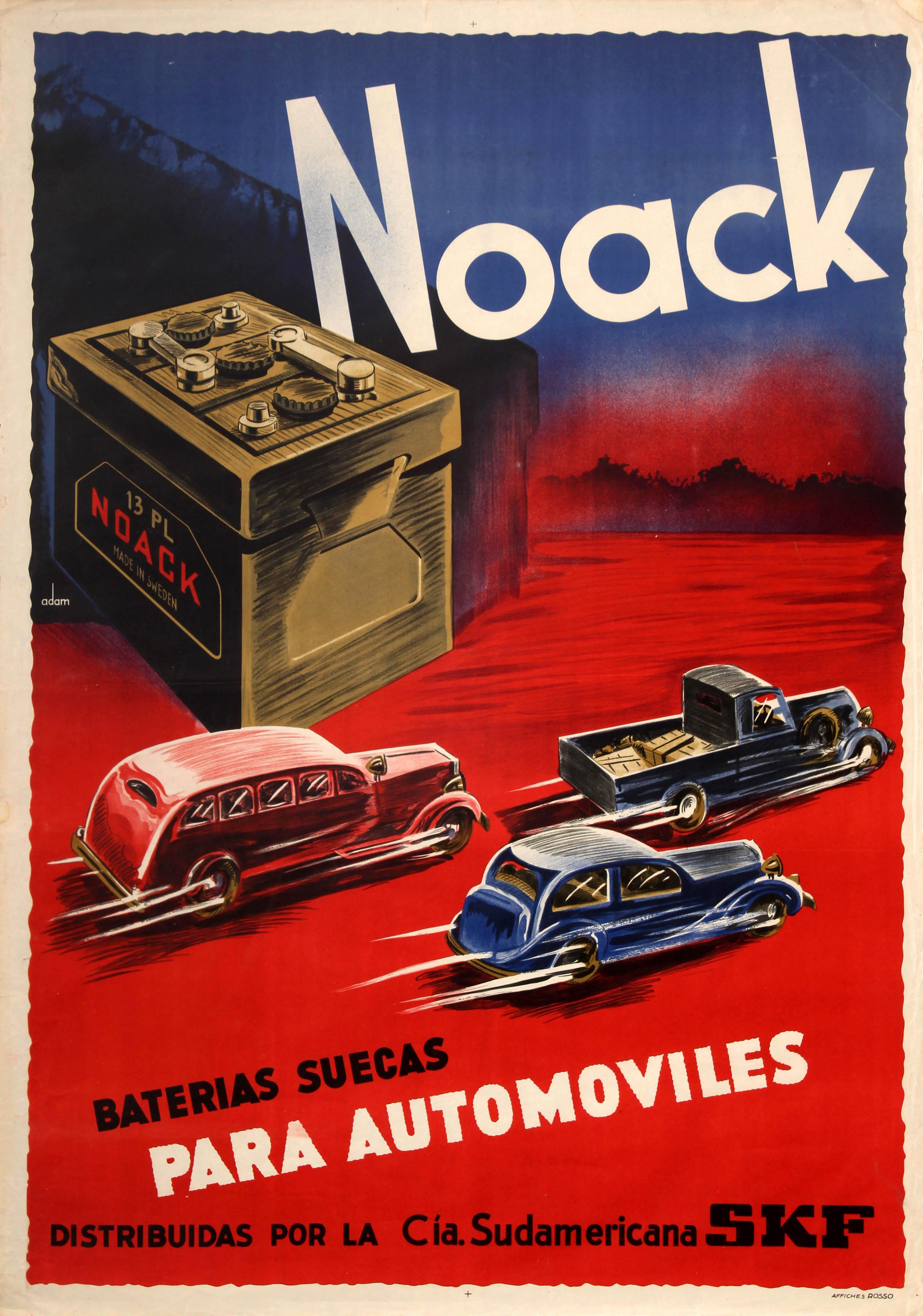 Advertising Poster Noack Car Batteries Art Deco Sweden