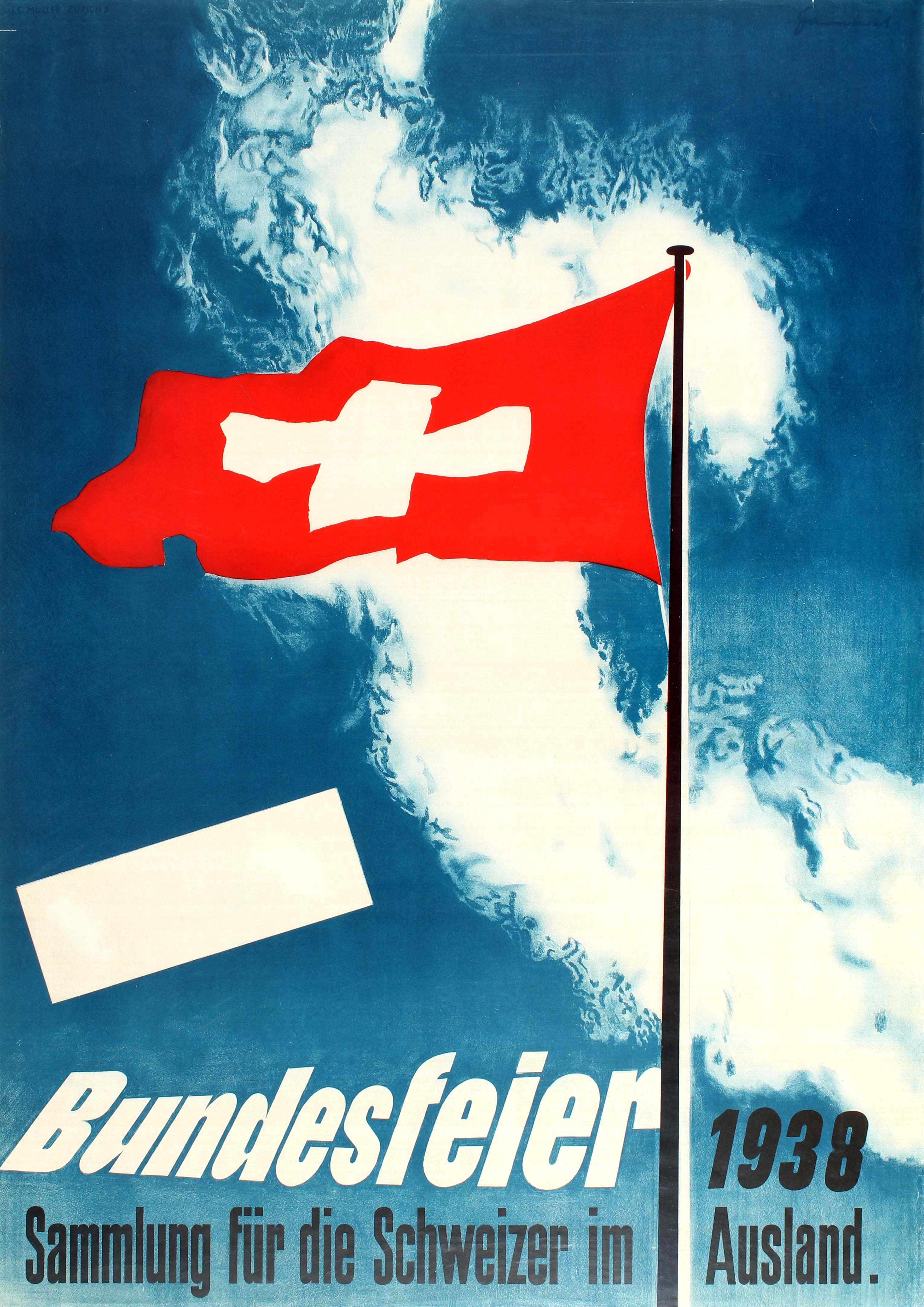 Advertising Poster Switzerland National Day Swiss Abroad 1938