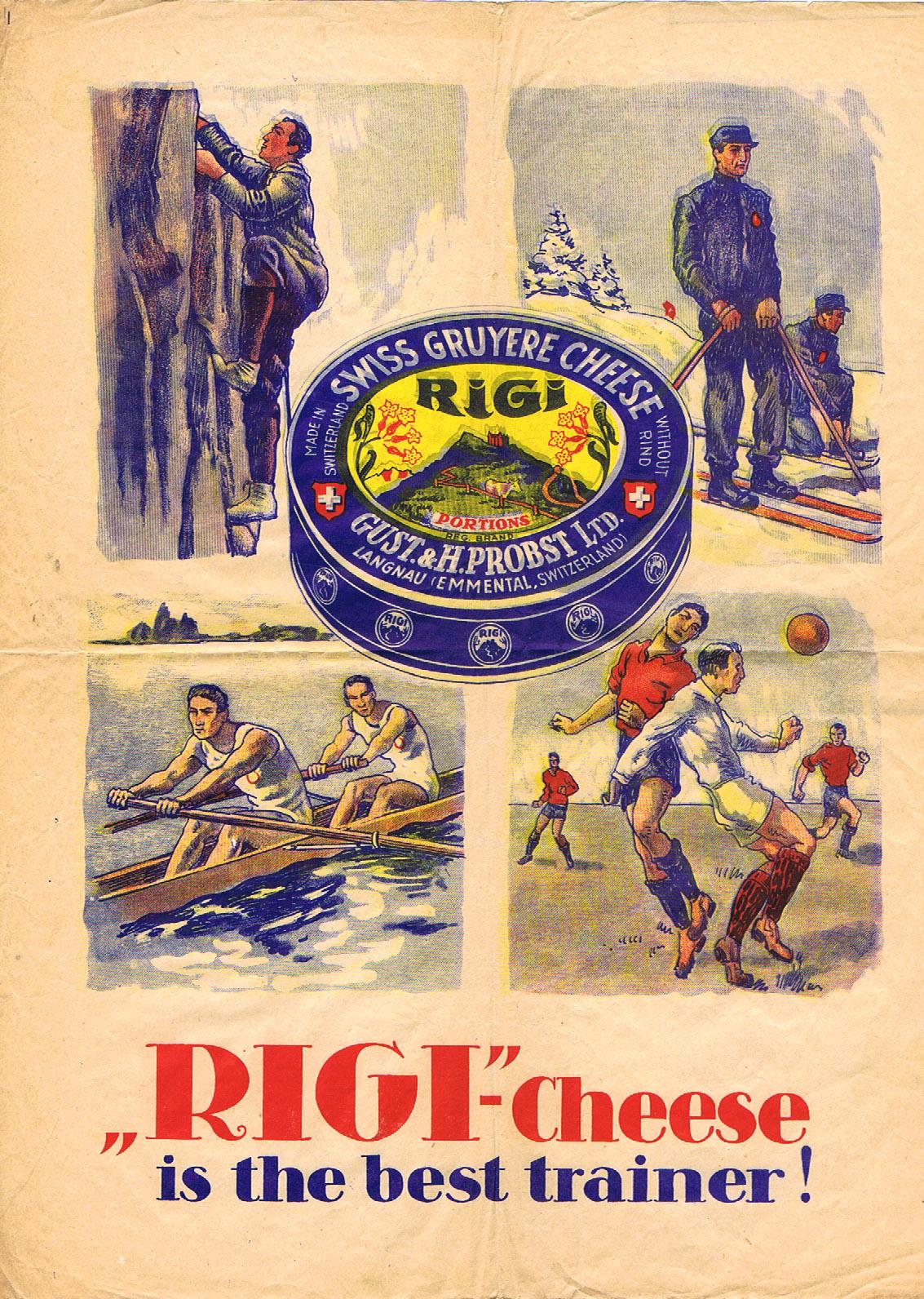 Advertising Poster Rigi Cheese Swiss Ski Mountains