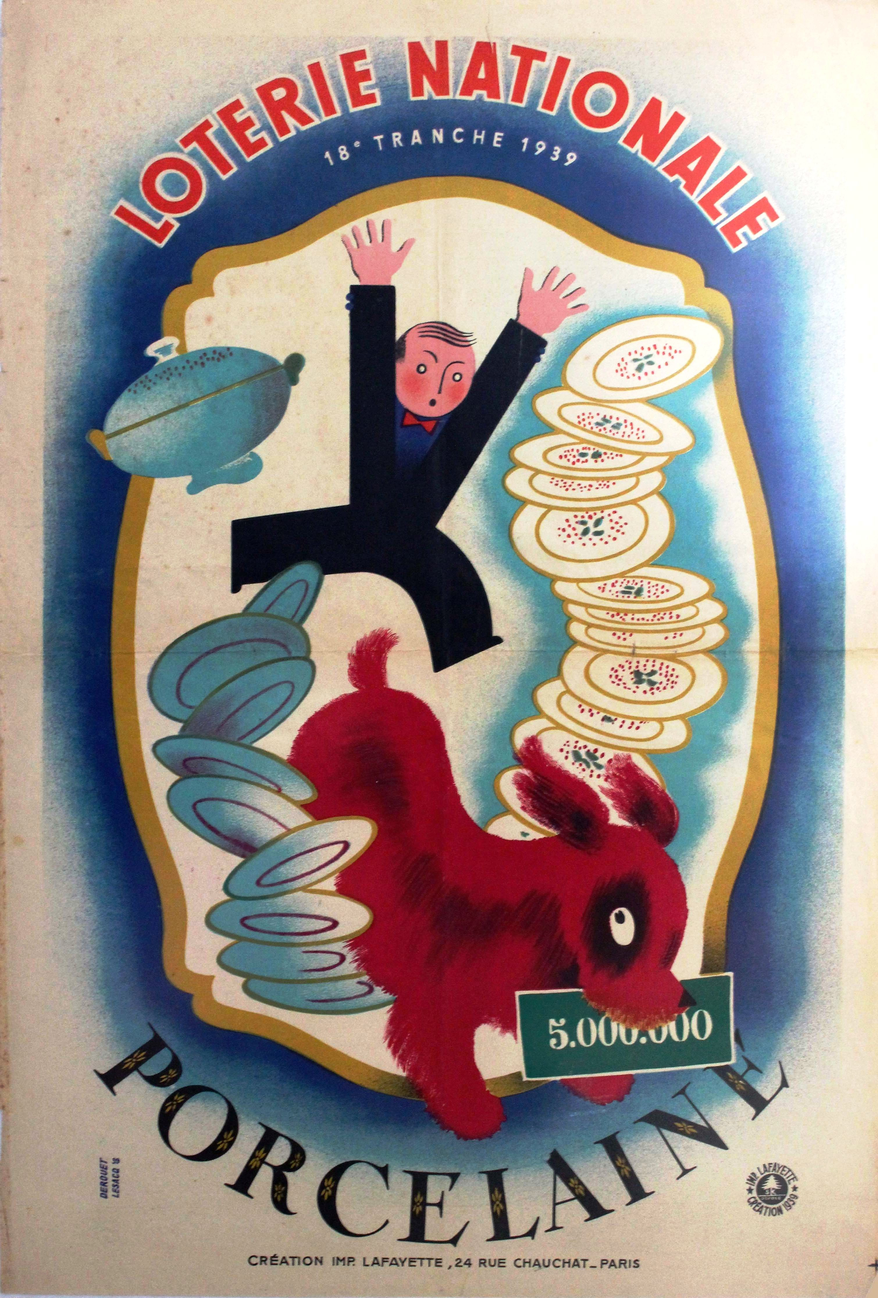 Advertising Poster Loterie Nationale France Porcelain
