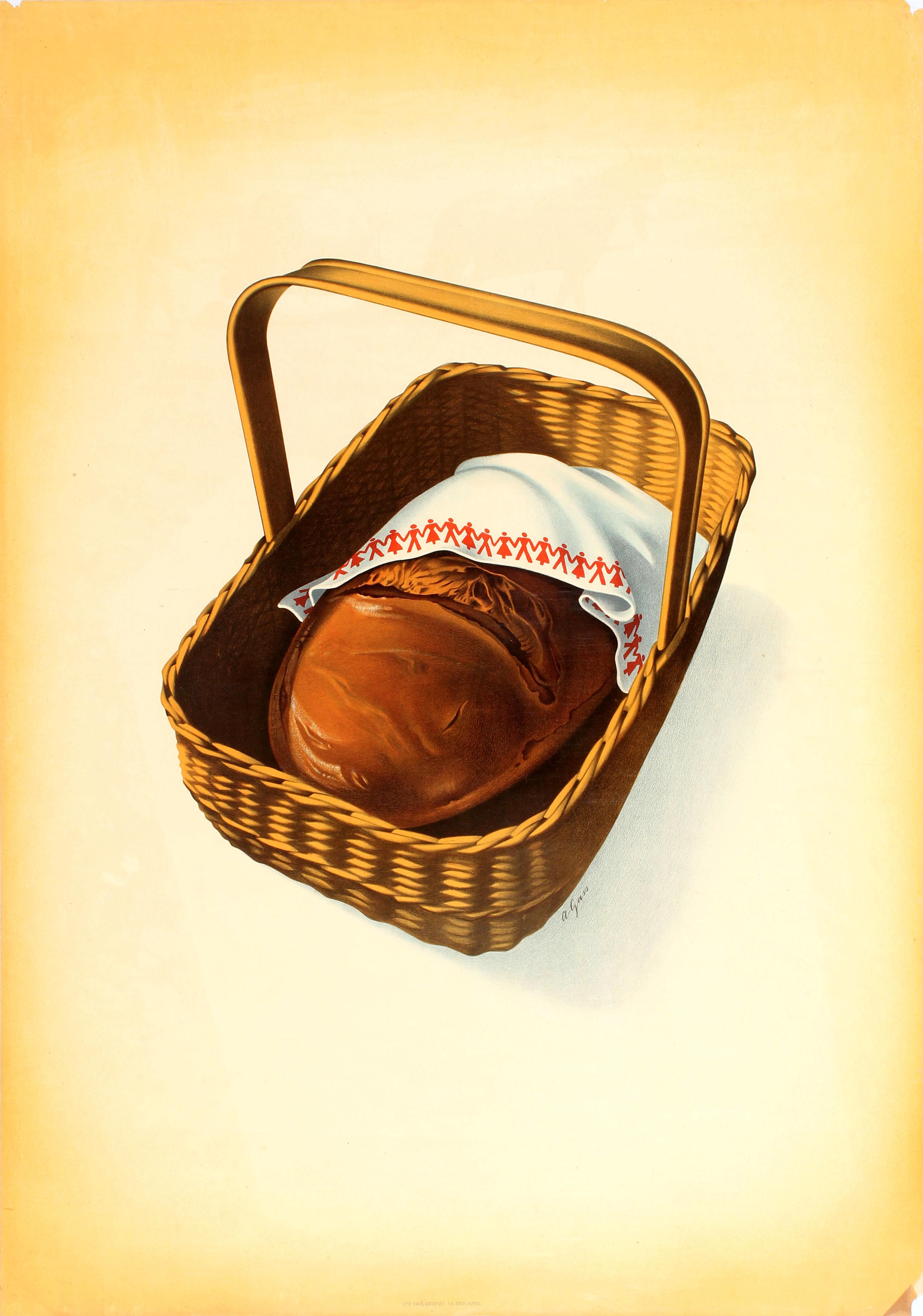 Advertising Poster Coop Switzerland Bread Picnic Basket