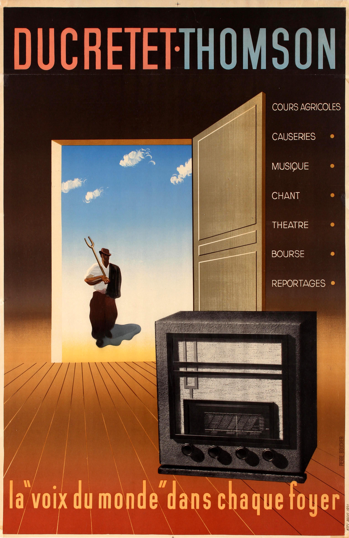 Advertising Poster Ducretet Thomson Radio Receiver Boucher Art Deco