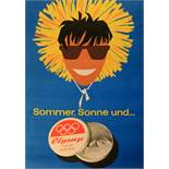 Advertising Poster Sun Cream Olymp Mountain Skiing Midcentury