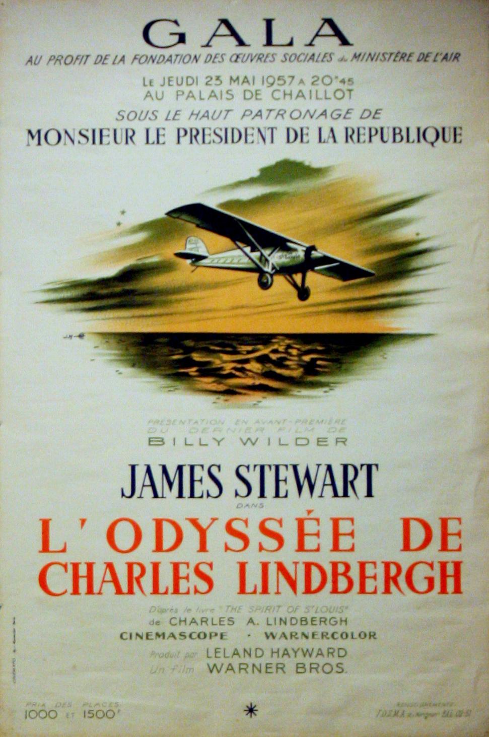 Advertising Poster Art Deco AirplaneCharles Lindbergh