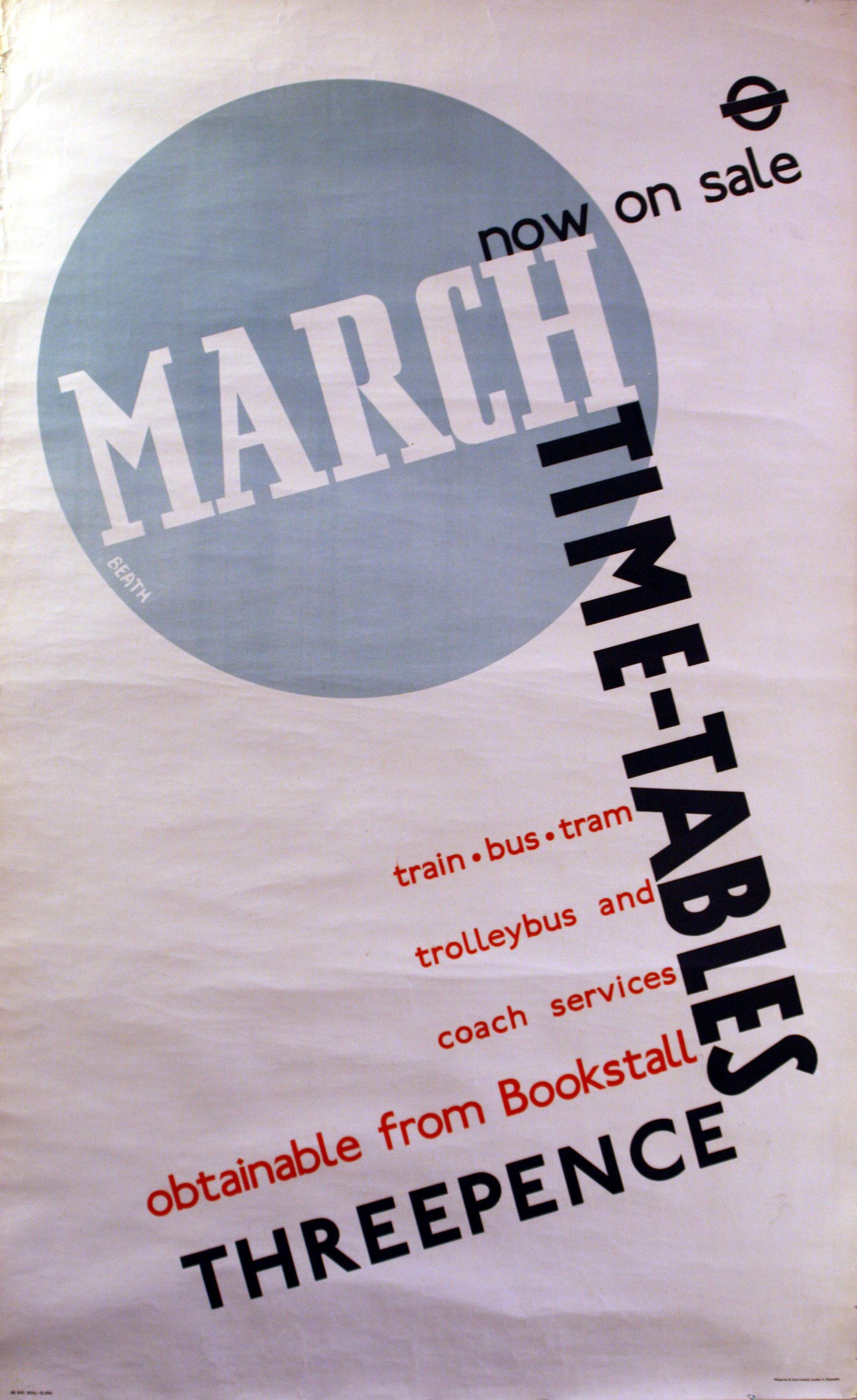 Advertising Poster LT London Transport March Timetables Modernism