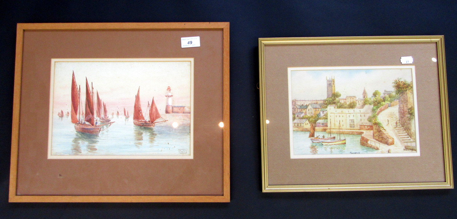 Lot 49 - T.H. Victor, two watercolours, one of Abbey Slip, Penzance, 17.