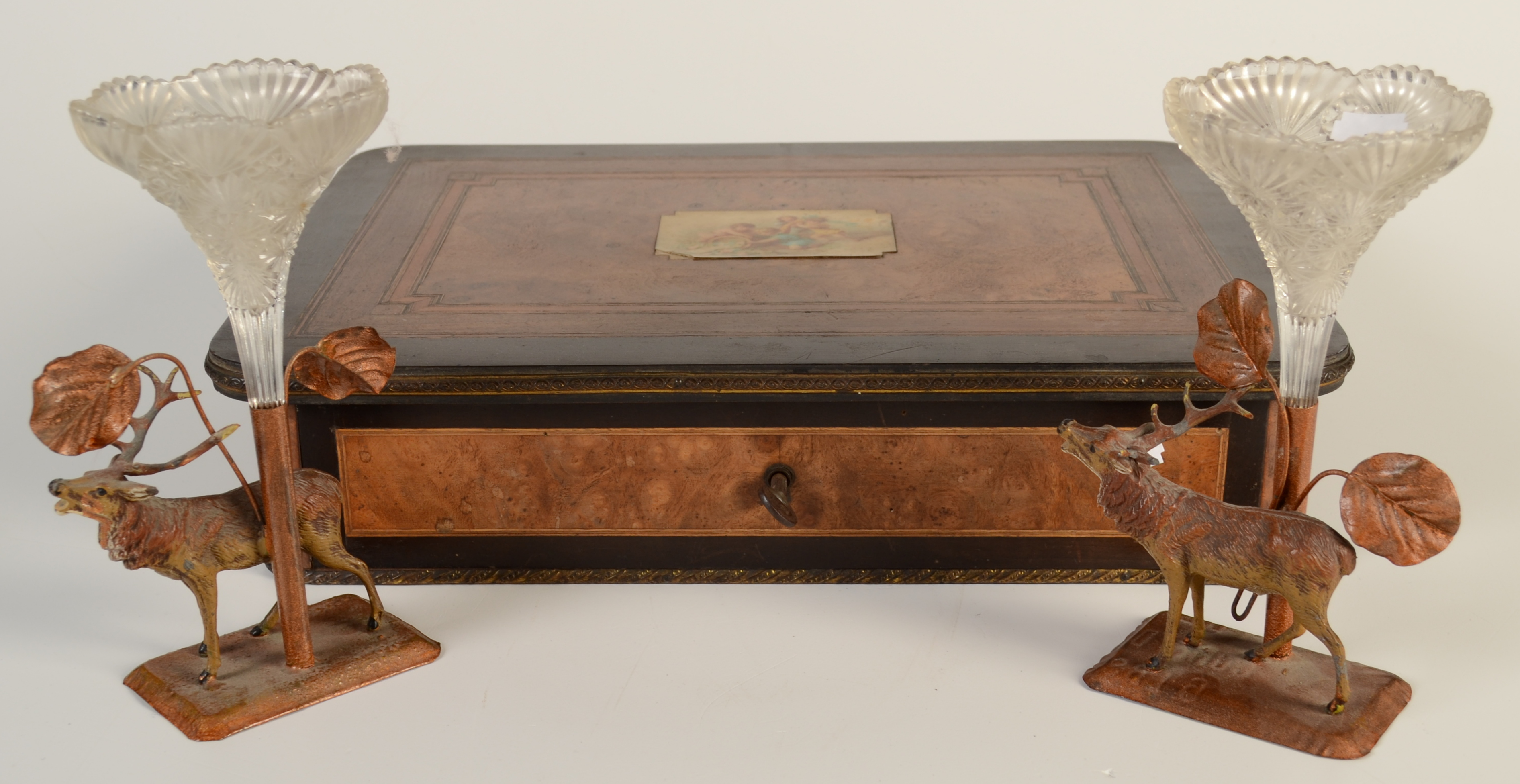 Lot 33 - A French inlaid walnut and ebony work box, the lid set with a print of children with a cornucopia,
