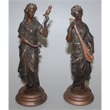 Lot 22 - A pair of early 20th century spelter female figures in classical style, one with a lute,
