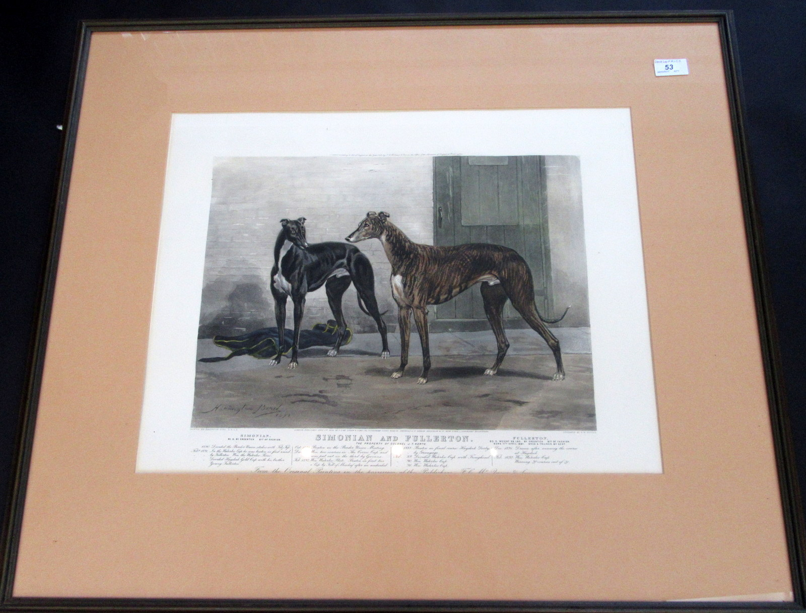 "Lot 53 - A Victorian coloured print of the two greyhounds ""Simonian and Fullerton, the Property of Colonel J."